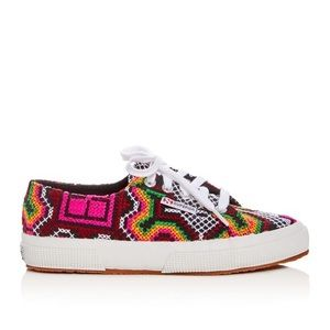SUPERGA Embroidered Cross Stitch Low Top Sneakers